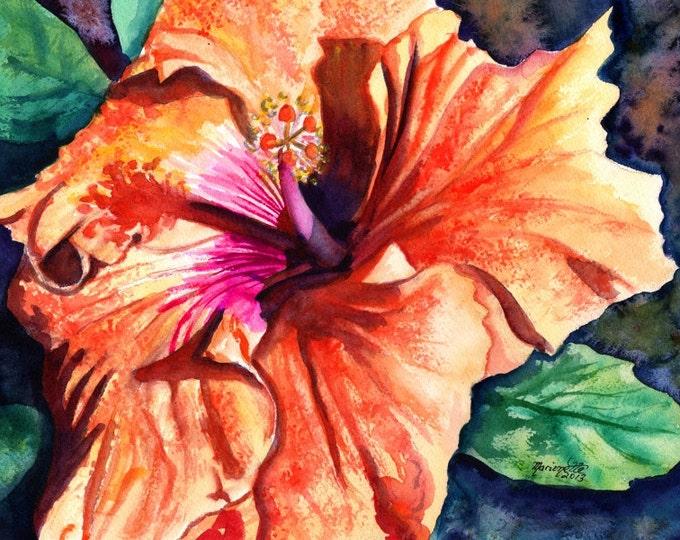 Tropical Hibiscus, Watercolor Tropical Flowers, 8x10 print, Orange Hibiscus Art, Hawaii art, Hawaii Wall Decor, Hawaiian watercolors, Hawaii