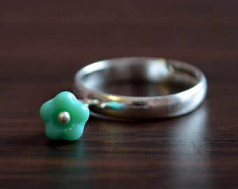 Cute Flower Ring, Aqua Turquoise Blue, Floral Glass Charm, Adjustable Size, Silver Plated Jewelry