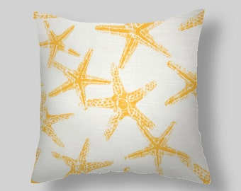 Yellow Pillow Covers Accent Pillows throw Pillows Decorative Pillows Star fish 18 ""