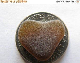 Sea glass brown heart - Beach Glass Heart