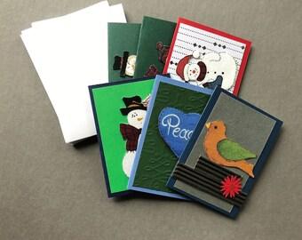 Handmade Fabric Nesting Bird Christmas Gift Enclosure Cards Set of 6