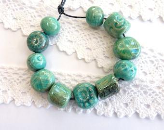 Ceramic beads ~ 11 handmade raku beads, ceramic bead, turquoise blue green  beads, earthenware beads, handmade jewellery supplies, unique
