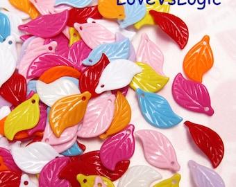 80 Acrylic Leaf Beads. Mix Colors