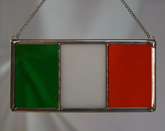 "Irish Flag in STAINED GLASS, Ireland Eire, 5"" x 2.5"", St. Patrick's Day"