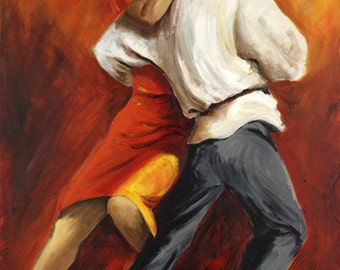 Tango Dancers Painting, Argentine Tango Canvas Print, Couple Dancing Tango  Red and Black Painting, Room Decor , 24x36 Red painting