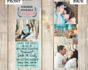 Save The Date Bookmark, Front and Back