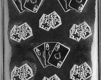 Dice with Aces - Playing Cards Chocolate Mold - J023 - Includes Melting & Chocolate Molding Instructions