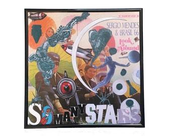 So Many Stars Vinyl Cover Collage Artwork Original Vintage Music Sergio Mendes Album Framed Record Wall Art Upcycled Home Decor
