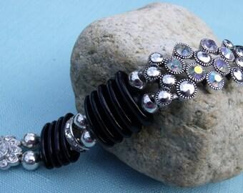 Repurposed Vintage Black Glass Spacer Beads & Rhinestone Bracelet