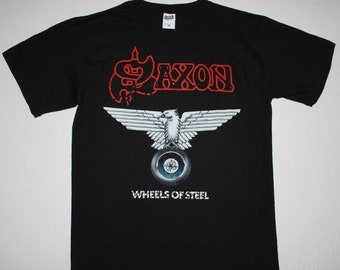 Spring Sales Event: Saxon Wheels Of Steel 1980 NWOBHM NEW Black T-Shirt