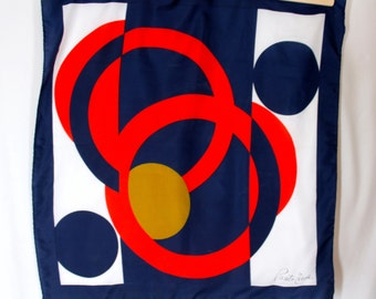Vintage Ponte Tresa Red Navy White Gold Abstract Circle Scarf Square