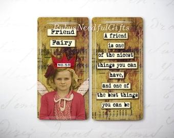 Glass Tile Magnets,  Fridge Magnets, Retro Fairy Friends Magnets, Best friends gift, Hostess Gift, SET OF 2.