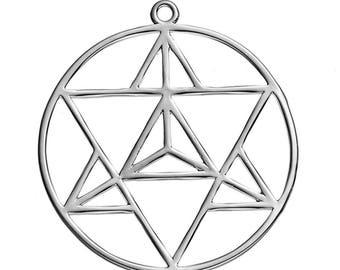 x 1 zen meditation 36 mm matte silver Locket pendant