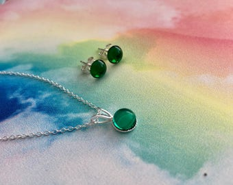 Emerald Glass and Sterling Silver Necklace and Earrings, Emerald Glass Jewellery Set, Emerald Glass, Gifts For Her