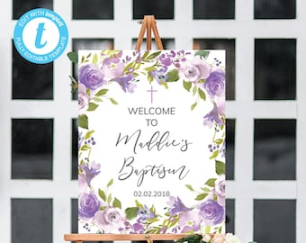 baptism welcome sign, Christening welcome sign, Girl Christening Welcome Sign, Baby girl baptism, lavender Welcome Sign, baptism Decorations