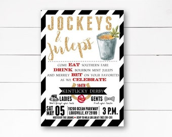 Jockey's and Juleps Invitation, Kentucky Derby Invitation, Horse Racing Invitation, Mint Juleps Invitation, Derby Party, DIY or Printed