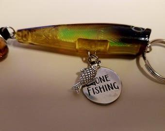 Gone Fishing Fish Lure Key Ring