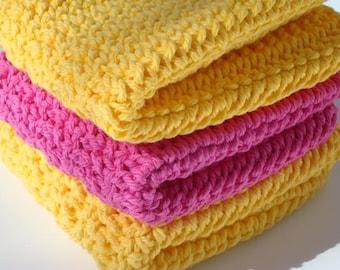Three Crochet Dishcloths, Washcloths  - Pink and Yellow Cotton Wash Cloths, Dish Cloths, Cotton, Crocheted Dish Cloths, Dishcloths - Kitchen