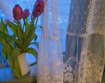 Custom Made to Order Net Lace Window Curtains with Embroidered bottom flounce