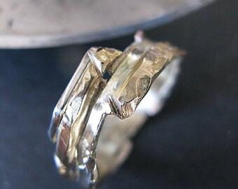 Unique Mens Wedding Band 14k Gold Ring Rustic Mens Wedding Band Rose Gold Wedding Ring Multimetal Mens Ring Artisan Distressed Viking Ring