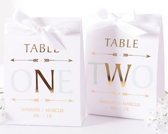 METALLIC FOIL Boho Wedding Table Numbers - Metallic Wedding Table Centerpiece - Vintage Wedding Decor - Gold Foil Table Numbers - #wtn-187