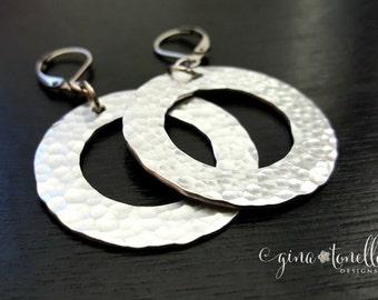 Silver Hoop Earrings, Silver Round Earrings, Silver Earrings, Lightweight Earrings, Silver Leverback Earrings, Silver Dangle Earrings