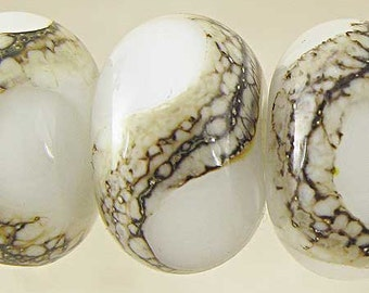 Handmade Lampwork Glass Bead Set of 6 with Organic Webbed Silvered Ivory Small 11x7mm White