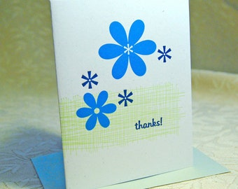 Blue Daisy Letterpress Thank you