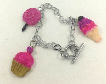 Silver bracelet with three pendants made and hand painted