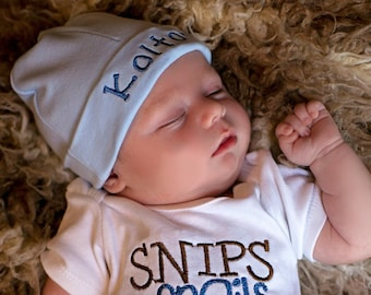 Personalized Infant Hospital Hat, Newborn Beanie, Take  Home  Hat, Baby Name Hat, Newborn Hospital Hat, Embroidered Baby Hat, Blue Beanie