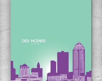 Des Moines Iowa City Skyline / Office Art for Dad / Home Wall Art / Pop Art Gift / Choose your colors / Any City Available