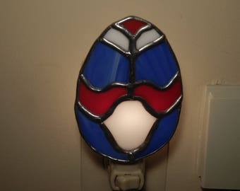 Stained Glass Night Light Egg- (Red. White and Blue)