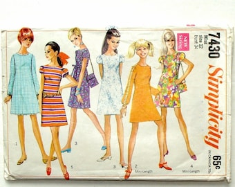 Vintage 1967 Simplicity Shift Dress and Bag Pattern #7430-Size 12 (Bust 34) - Cut & Complete