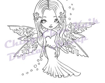 Snowflake Dollie - Instant Download / Winter Frozen Ice Snow Fantasy Fairy Cute Girl Art by Ching-Chou Kuik