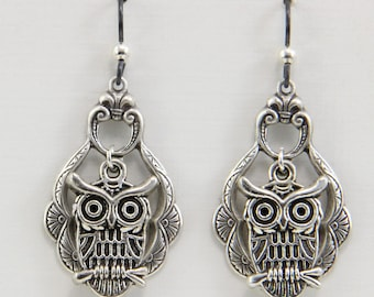 Handmade Dangle Earrings  Silver Pewter Owls Over Victorian Style Silver Brass Drops Owl Jewelry Handmade by Oscarcrow Jewelry