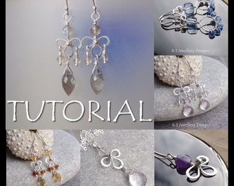 Wire Jewelry Tutorial - WIRE BLOSSOMS (Earrings and Pendants) - Step by Step Wire Wrapping Wirework Instructions - Instant Download