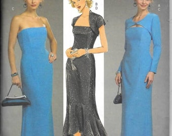 Misses Long Evening Dress with Shrug, Sizes 14 thru 20, new Butterick Pattern 4731