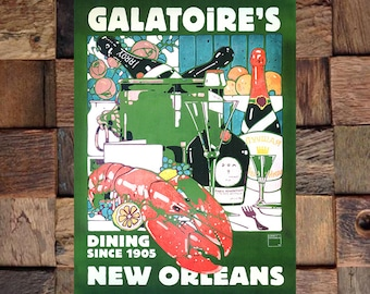 Galatoires New Orleans 1905 Dining Ad, Vintage Restaurant Ad, New Orleans Art, Vintage Art, Giclee Art Print, fine Art Reproduction