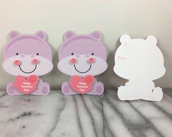 Valentines, Hippo set of 12, Mini note cards, Valentines Day, Classroom Valentines, School Valentines, Preschool Valentines