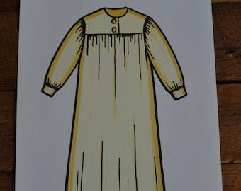 Peabody Language Development Vintage Flashcard Card - Yellow Nightgown Pajamas