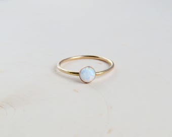 Opal Ring | Gold Opal Ring | White Opal Ring | October Birthstone | Stacking Ring | Dainty Gold Ring | Gift for Her | Bridesmaid Gift