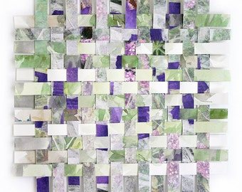 Paper Weaving- 9x9- Original Mixed Media- Woven Paper- White, Green, Purple