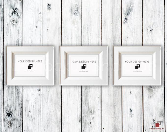 VINTAGE FRAME MOCKUP A4, Set of 3, wood frame mockup in Vintagel, Old white Frame Mockup, Old Vintage Frame Mock-up, Vintage nordish style