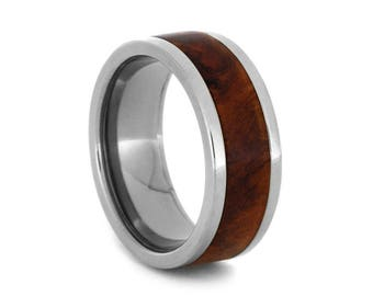 Wood Wedding Band, Titanium Ring With Amboyna Wood, Interchangeable Wedding Anniversary Ring or Commitment Ring