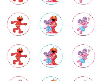 Elmo and Abby Cadabby  Sesame Street  Birthday Party Tags Cupcake Toppers Stickers DIY Printable File