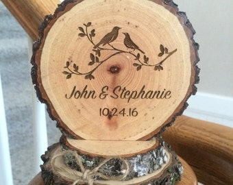 Rustic Woodland Wedding Cake Topper Personalized Country, Bird Cake Topper, Love Birds, Love Bird Topper, Personalized Topper, Custom Topper