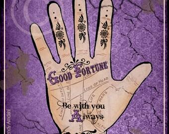 Halloween Art, Illustration, Palmistry Hand, Purple, Poster Art, Advertisement, Fortune Telling, 5x7, Digital Download, Vintage, Eclectic