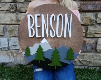 "18"" Mountain Theme Personalized Name Sign | Custom | Woodland Theme | Nursery Decor | Wood Sign | Name Cutout | Baby Name | Boy | Wall Decor"