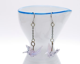 Origami earrings crane in lilac recycled paper on thin bronze chain eco-friendly jewelry -Made to order