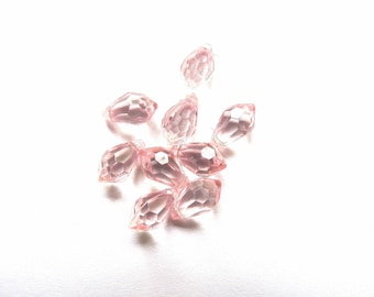 10 ROUND DROPS PINK SHEER TRANSPARENT 5/10 MM